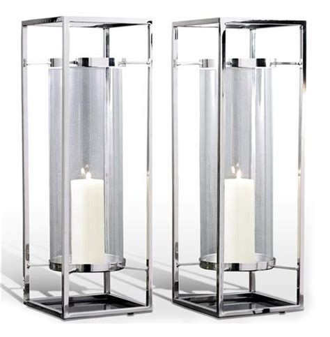 Coastal Dining Room Sets by Pair Adour Silver Glass Modern Square Tall Hurricane