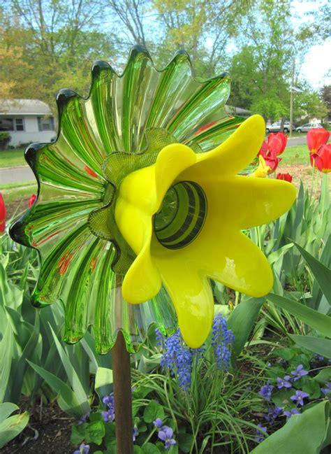 Garden Glass Flowers Vintage Glass Garden Plate Flower Sun Catcher Glass