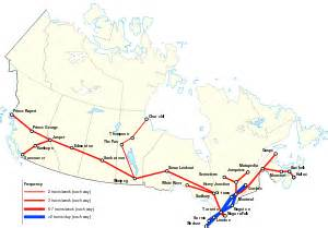 canada rail network map via rail canada map