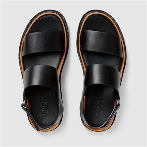 gucci sandals mens gucci leather sandal 407303arp001000