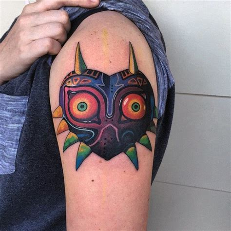 majoras mask tattoo 90 tattoos for cool gamer ink design ideas