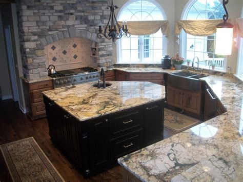 knotty pine cabinets granite counter top traditional this elegant kitchen was transformed using medallion