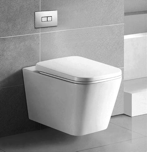 Square Wall Hung Concealed Cistern Toilet Suite   fluso