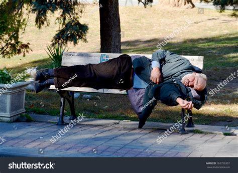 homeless man on bench istanbul turkey october 3 homeless man stock photo