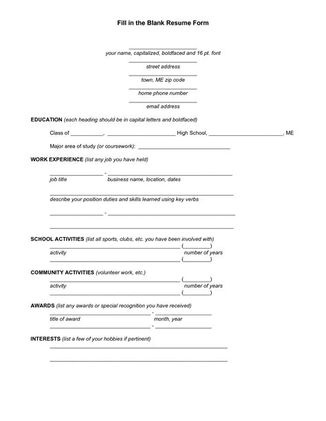 resume questionnaire template blank resume template for high school students http