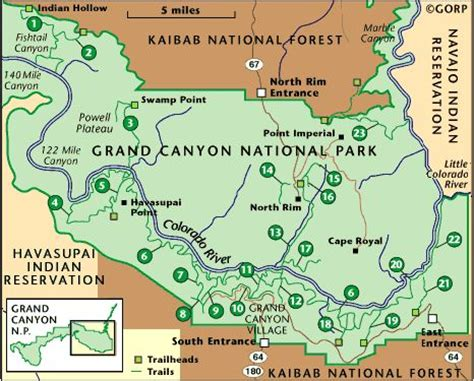 grand map park grand national park detailed trail descriptions