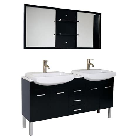 59 Inch Espresso Modern Double Sink Bathroom Vanity With Bathroom Sink With Mirror