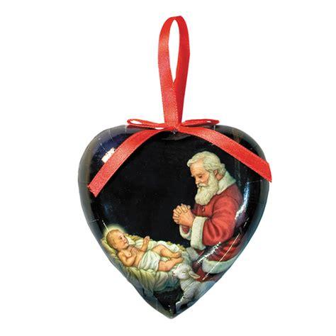 Decoupage Ornaments - adoring santa shaped decoupage ornament 6 pk