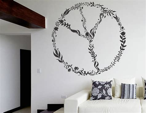 wall stickers large nature peace sign wall sticker contemporary wall