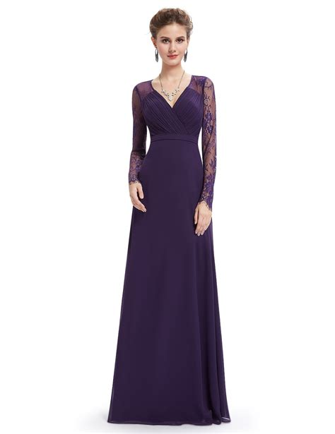 v neck evening gown with lace sleeves pretty
