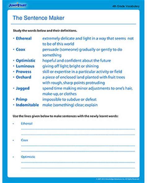 online sentence pattern maker the sentence maker free vocabulary worksheet for 4th