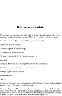 Business Letter Sample For Quotation business letter samples rejection quotations letter