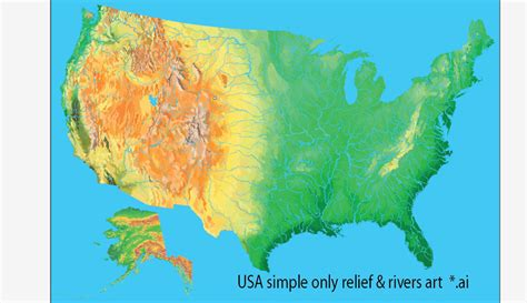 america map simple us map simple vector only releff rivers ai
