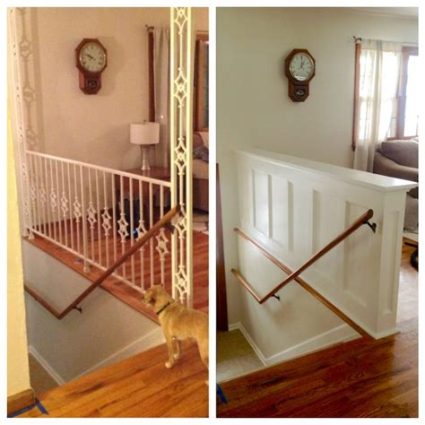 replace banister with half wall our modest starter home might be our forever home
