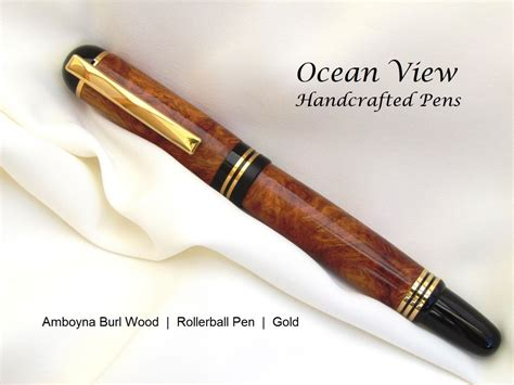 Handcrafted Wood - handcrafted amboyna burl wood rollerball pen in gold