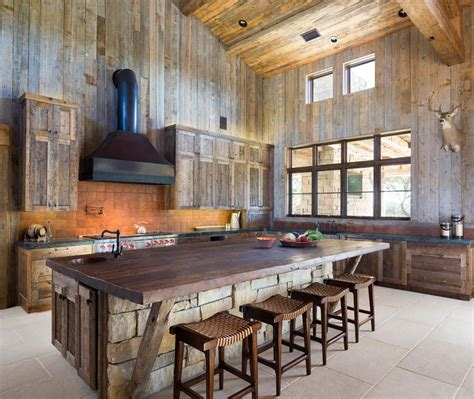 Kitchen Island Range Hood austin barnwood kitchen cabinets rustic with rough hewn