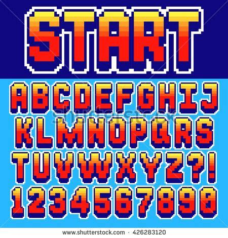 font design game pixel retro font video computer game design 8 bit letters