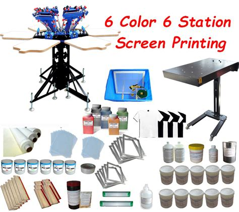 6 color screen printing press 6 color 6 station screen printing press printer 18x24