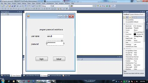 program login  microsoft visual studio