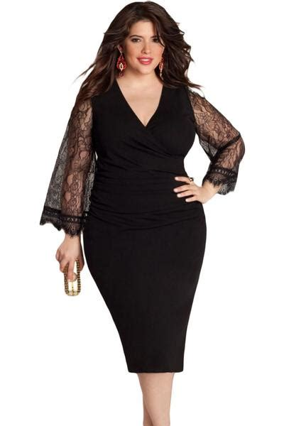 Big Size Dress Casual Black Bell Sleeve Branded Murah plus size black dress with lace sleeves www pixshark