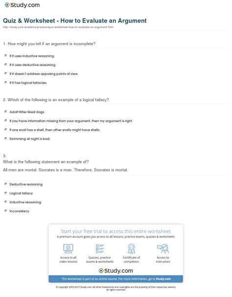 Evaluating Arguments Worksheet quiz worksheet how to evaluate an argument study
