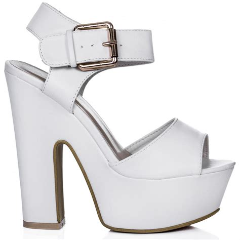 buy shelly block heel buckle platform sandal shoes white