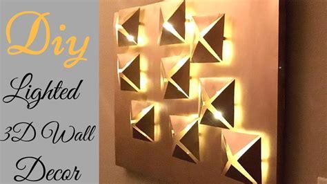 diy 3d metallic wall decor with lighting using cereal