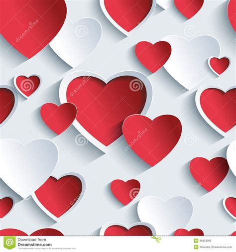 valentine background with two stylish valentines day seamless pattern with red grey 3d hearts