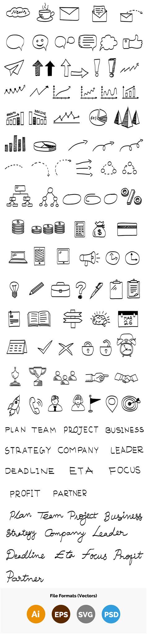 doodle elements 100 business vector doodle elements graphicsfuel