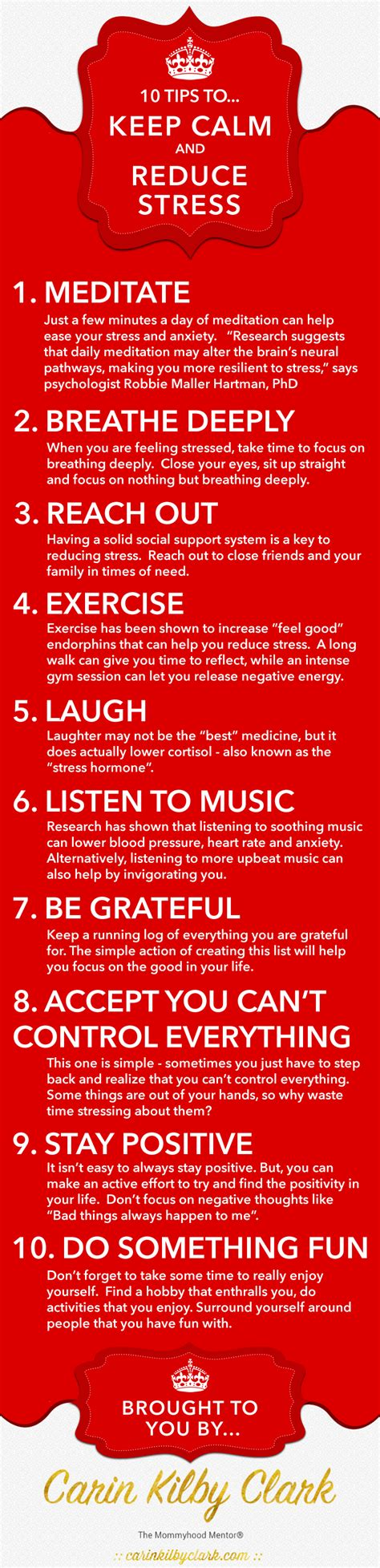 reduce anxiety 10 tips to keep calm reduce stress infographic