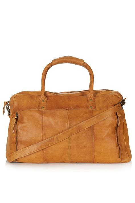 Check Your Luggage With Topshops Laminated Holdall The Bag by Lyst Topshop Vintage Leather Luggage Bag In Brown