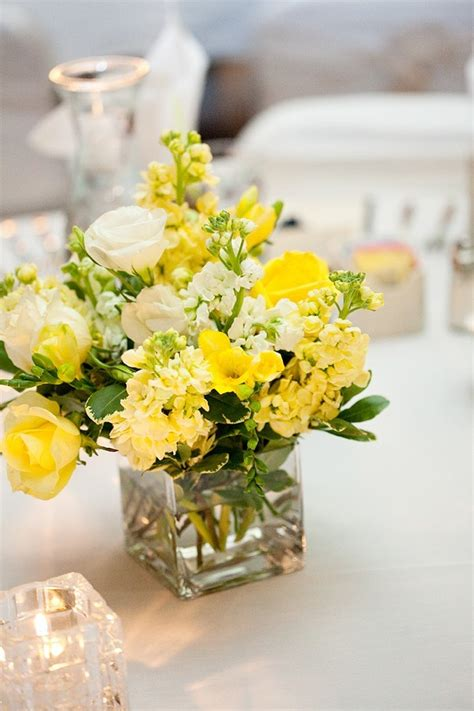 yellow flower arrangements centerpieces yellow centerpiece wedding on pink orange