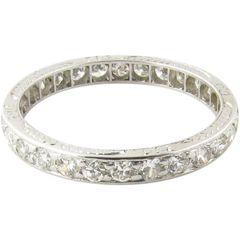 antique platinum channel set eternity band size 6