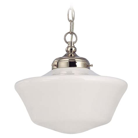 12 Inch Schoolhouse Pendant Light In Polished Nickel With Polished Nickel Pendant Lights