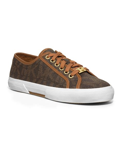 michael kors sneakers lyst michael kors boerum perforated logo sneaker in brown