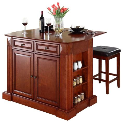 Kitchen Island Cart With Breakfast Bar Crosley Coventry Drop Leaf Breakfast Bar Kitchen Island With Stools In Cherry Transitional