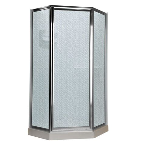 Neo Angle Shower Door Seal American Standard Prestige 24 25 In X 68 5 In Neo Angle Shower Door In Silver And Hammered