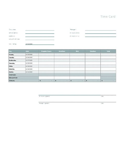 microsoft excel time card template time card