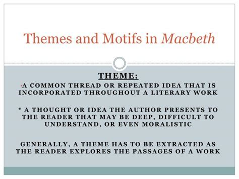 themes shown in macbeth ppt themes and motifs in macbeth powerpoint presentation