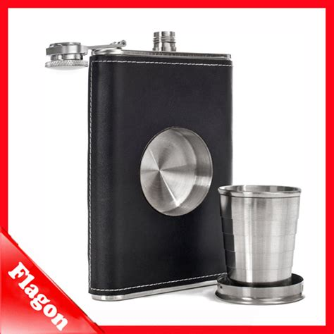 Stainless Steel Leather Cover Flask 8oz stainless steel hip flask black pu leather cover flagon wine bottle hip flask with a built