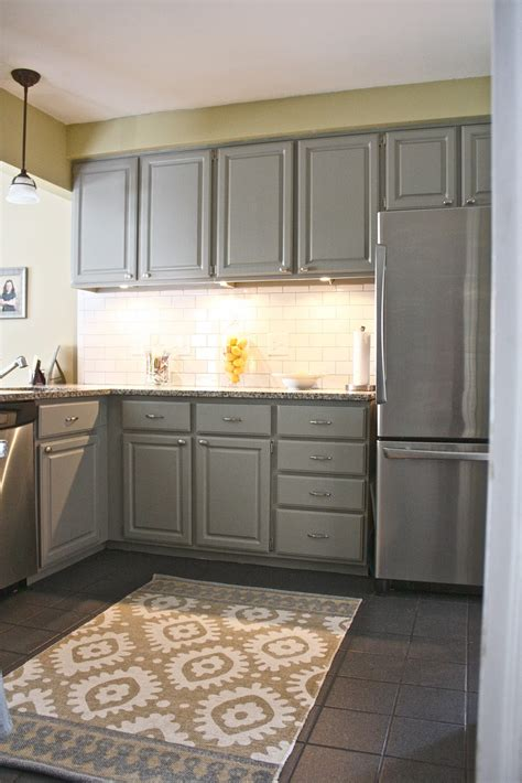 White Porcelain Backsplash by Grey Kitchen Cabinets Cheap Nicely Painted Kitchen
