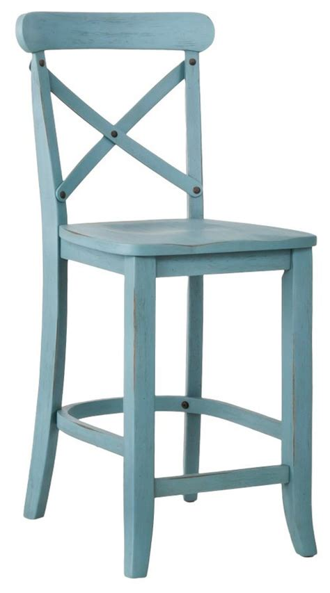 Blue Bar Stools Kitchen Furniture Country X Back 24 Counter Stool In Blue Everything Turquoise
