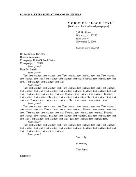 Cover Letter Business Format by Application Letter Format Spacing