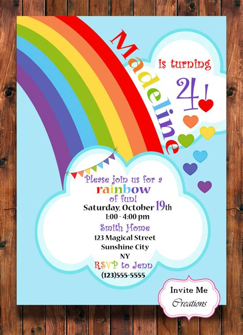 rainbow invitation card template rainbow hearts birthday invitation rainbow celebration