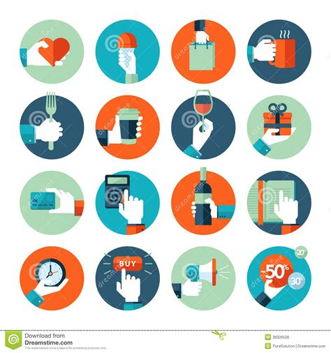 design icon products flat design icons hand using variety of products stock
