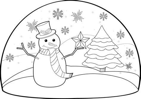 snowman scene coloring page winter clipart winter scenery pencil and in color winter