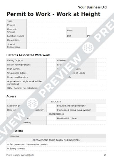 permit to work at height template work at height permit to work template haspod