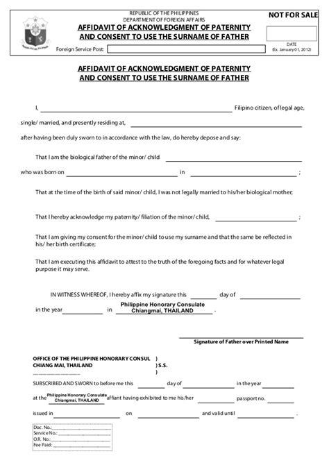 Acknowledgement Letter Paternity Affidavit Of Acknowledgment Of Paternity