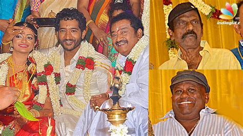 actor goundamani family photos video goundamani senthil attends pandu son wedding reception