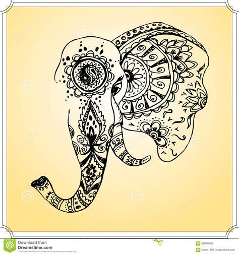 201 l 233 phant abstrait dans le mehndi indien de style dessin
